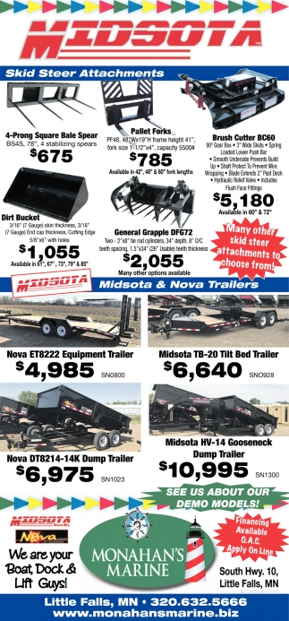 Skid Steer Attachments Monahans Marine Little Falls Mn Trailers On Utility Trailer Wiring And Lights Repair