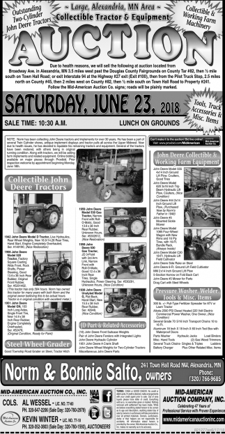 Auction Tuesday, June 23, 2018