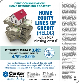 Home Equity Lines of Credit with no Closing Cost!