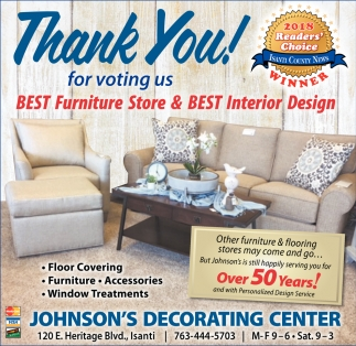 Ads For Johnson S Decorating Center In Isanti Mn