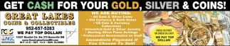 Get Cash For Your Gold, Silver And Coins!