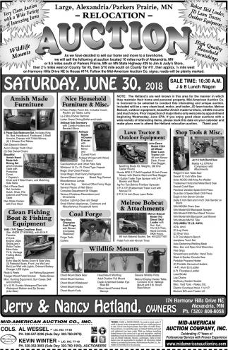 Auction Saturday, June 30, 2018