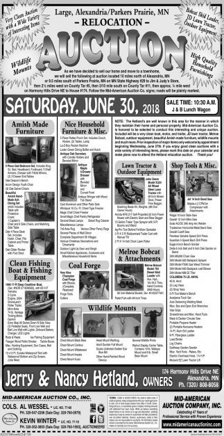 Auction Tuesday, June 30, 2018