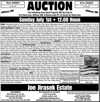 Auction Sunday July 1st