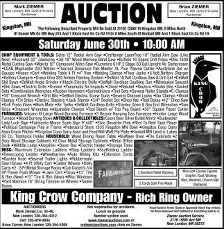 Auction Saturday June 30th