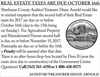 Real Estate Taxes Are Due October 16th