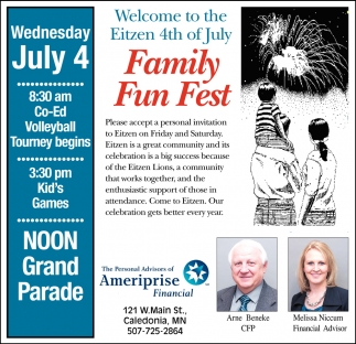 Welcome to the Eitzen 4th of July Family Fun Fest