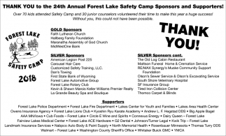 Thank You to the 24th Annual Forest Lake Safety Camp Sponsors and Supporters!