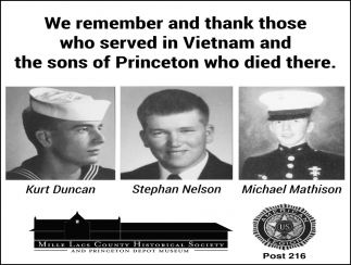 We Remember and Thank those who Served in Vietnam and the Sons of Princeton who Died there