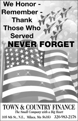 We Honor, Remember & Thank those who Served