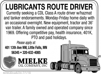 Lubricants Route Driver