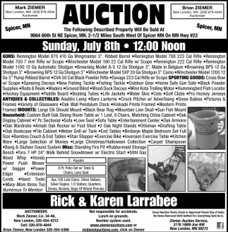 Auction Sunday, July 8th