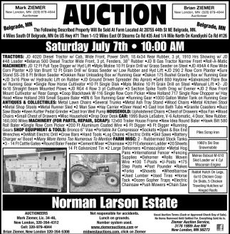 Auction Saturday July 7th