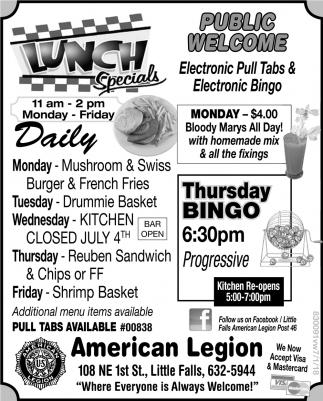 American Legion Lunch Specials