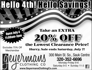 Hello 4th!, Hello Savings!