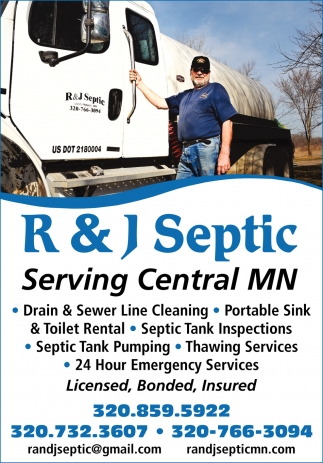 Serving Central MN, R and J Septic, Long Prairie, MN