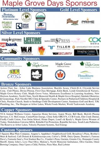 Maple Grove Days Sponsors