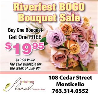 Riverfest Bogo Bouquet Sale