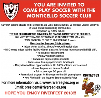 You are Invited to Come Play Soccer with the Monticello Soccer Club