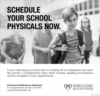 Schedule Your School Physicals Now, Mayo Clinic Health