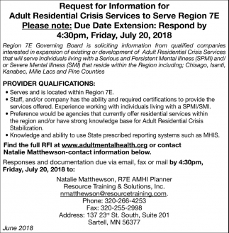Request for Information for Residential Crisis Services to Serve Region 7E