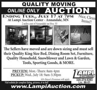 Quality Moving Online Only Auction