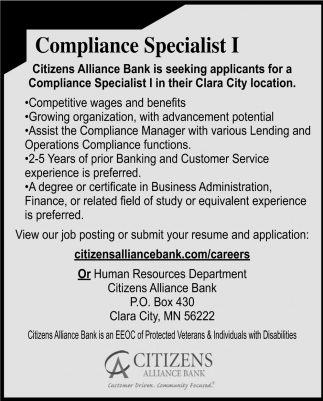 Compliance Specialist 1