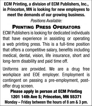 Printing Press Operators