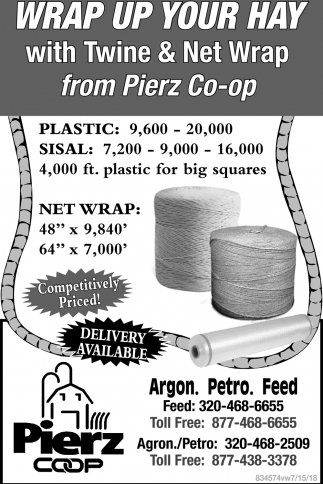 Wrap up Your Hay with Twine & Net Wrap from Pierz Co-Op