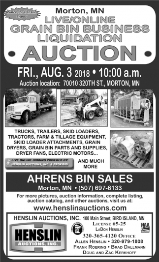 Live/Online Grain Bin Business Liquidation Auction