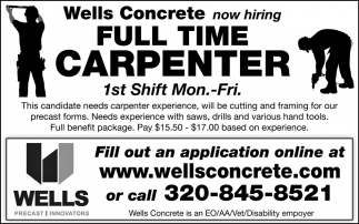 Wells Concrete Now Hiring Full Time Carpenter, Wells Concrete ...