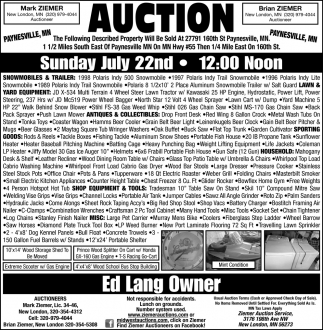 Auction Sunday July 22nd