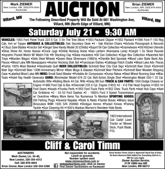 Auction Saturday July 21