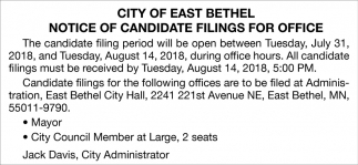 Notice of Candidate Filings for Office