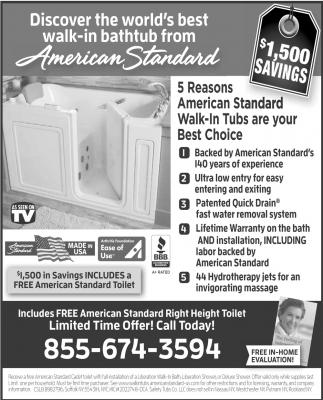 Discover The Worldu0027s Best Walk In Bathtub From American Standard, American  Standard Walk In Tubs, MN