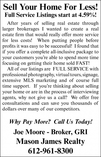 Sell Your Home For Less!