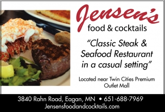 Clic Steak Seafood Restaurant In A Casual Setting Jensen S Food Tails Eagan Mn