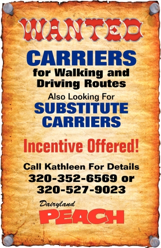 Wanted Carriers for Walking and Driving Routes