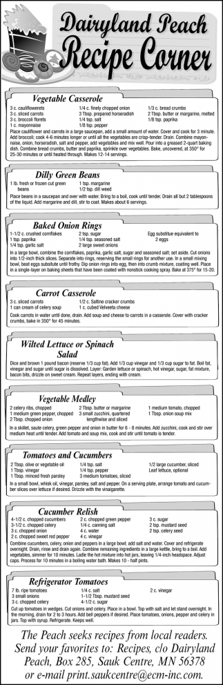 Dairyland Peach Recipe Corner