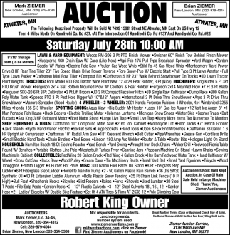 Auction Saturday July 28th