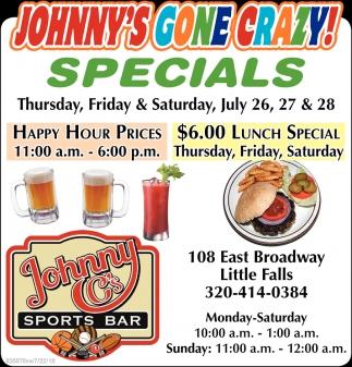 Johnny C'S Gone Crazy Specials!