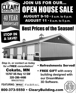 Join us for Our Open House Sale