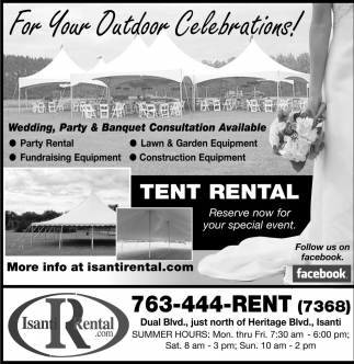 For Your Outdoor Celebrations!, Isanti Rental, Isanti, MN