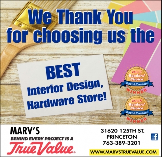 We Thank You for Choosing us the Best Interior Design, Hardware Store!