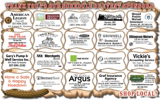 Thank You to Our Shedule of Event Sponsors