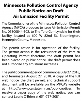 Public Notice on Draft Air Emission Facility Permit