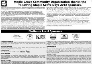 Maple Grove Community Organization Thanks the Following Maple Grove Days 2018 Sponsors
