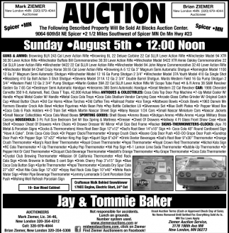 Auction Sunda,y August 5th