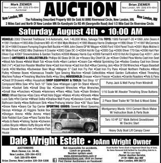 Auction Saturday, August 4th