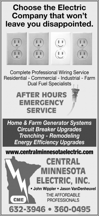 choose the electric company that won t leave you disappointed central minnesota electric little falls mn ads